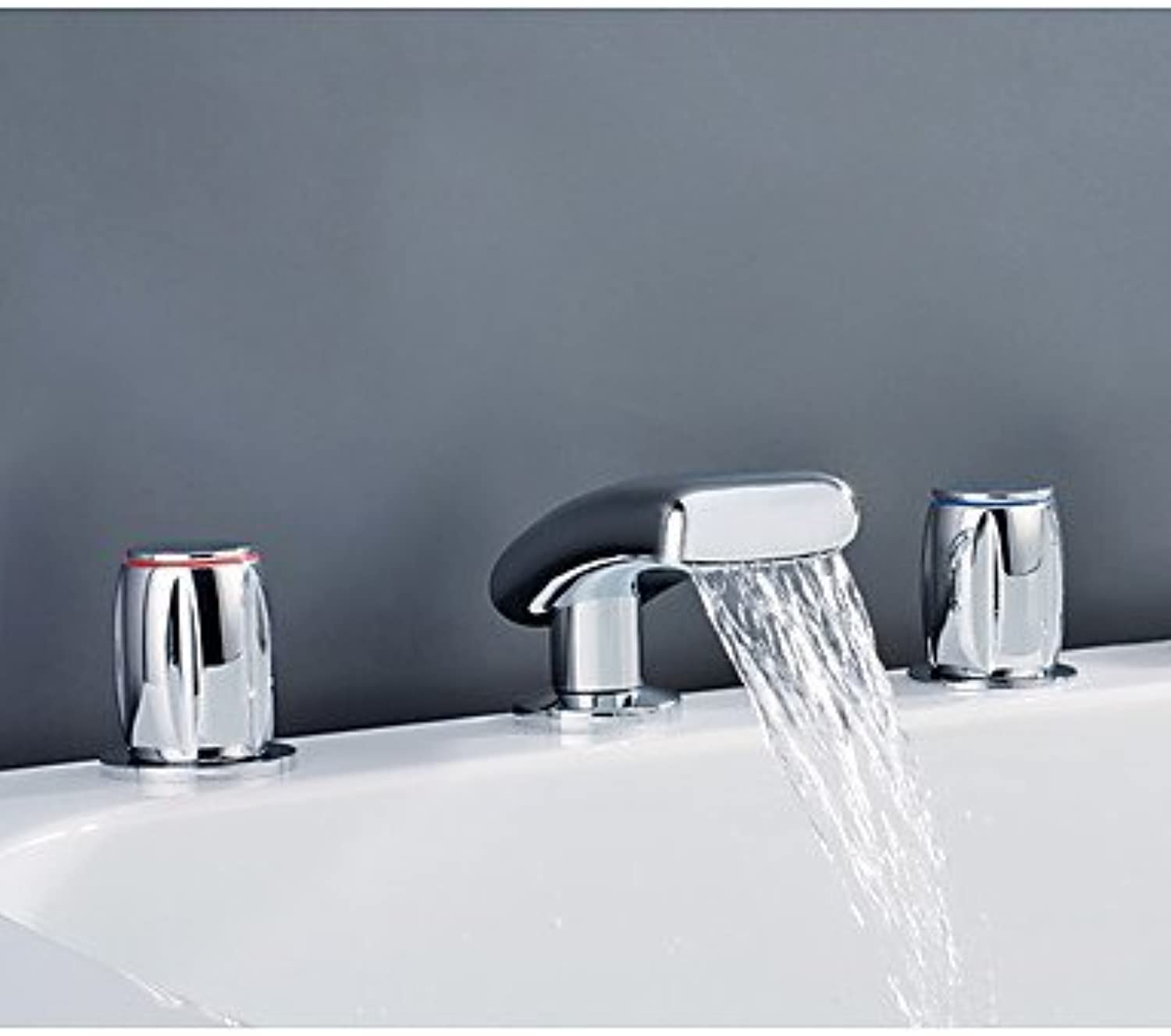 YI KUI Sink Faucet Contemporary Rustic Art Deco Retro 3 Hole Faucet Waterfall with Ceramic alve Two Handles Three Holes for Chrome,