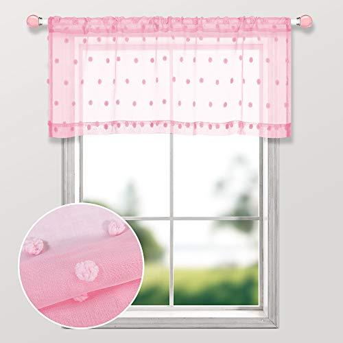 Pink Valances for Girls Room Decor Set 1 Panel Rod Pocket Pom Pom Dot Texture Curtain Valance Pretty Cute Sheer Valances for Girls Bedroom Windows Decoration 52 x 18 Inch Length Light Pale Baby Pink