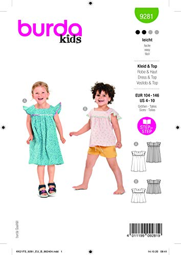 Burda 9281 Schnittmuster Kleid und Top (Kids, Gr. 104-146) Level 2 leicht