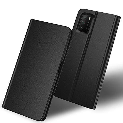 SHINEZONE Handyhülle für Xiaomi Poco M3 Hülle, Premium Leder Flip Case Schutzhülle mit [Kartenfach] [Standfunktion] [Magnetverschluss] für Xiaomi Poco M3 (Schwarz)