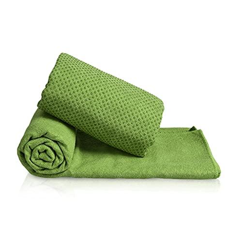 Hzjjc Toalla Mat Yoga Antideslizante, Manta Yoga Esterilla Deporte Secado Rápido Microfibra Absorbente Extra Larga para Hot Yoga, Fitness, Playa, Gimnasio, Pilates, 63x183cm (Color : Green)