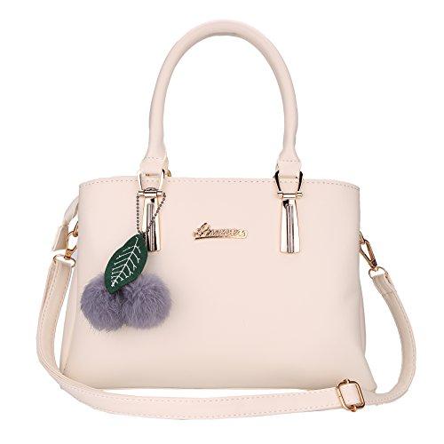 Luojida PU Handtasche Damen Umhängetasche mit Ball Geschenk für Mädchen 30x22x12 cm (Beige)