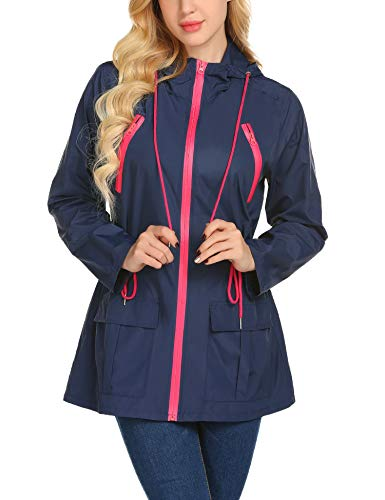 Avoogue Womens Rain Jackets Waterproof with Hood Lightweight Outdoor Hiking Rain Jacket(Navy Blue-XL)