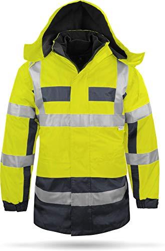 normani Outdoor- & Arbeitsbekleidung 4-in-1 Warnschutzparka - gut sichtbare Winterjacke mit Signalfarben und Reflektoren [S-4XL] Farbe Neongelb/Marine Größe M