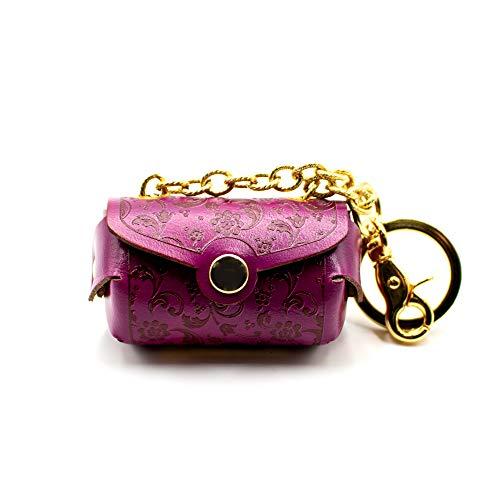 Llavero portamonedas con forma de bolso abanico de piel, acabado artesanal – Fabricado en Italia | FP Pelletterie – Vichiana