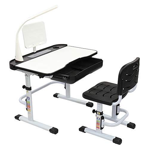 Mesa de elevación de 70 cm, puede inclinar a los niños mesa de aprendizaje y silla negra con soporte de lectura interfaz USB lámpara de escritorio) (con lámpara de mesa)