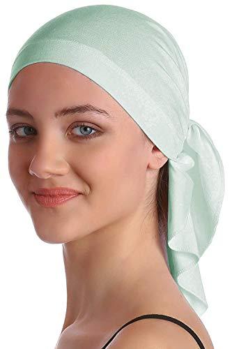 XIAOJIE De gebreide muts van de dames Deresina unisex bandana in katoen en bamboe voor haar loss Cancer chemotherapy-Spring Green