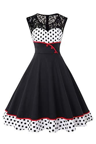 MisShow Damen Elegant 1950er Rockabilly Kleid Spitzenkleider Polka Dots Retro Vintage Petticoat Kleider Faltenrock, Weiß, M