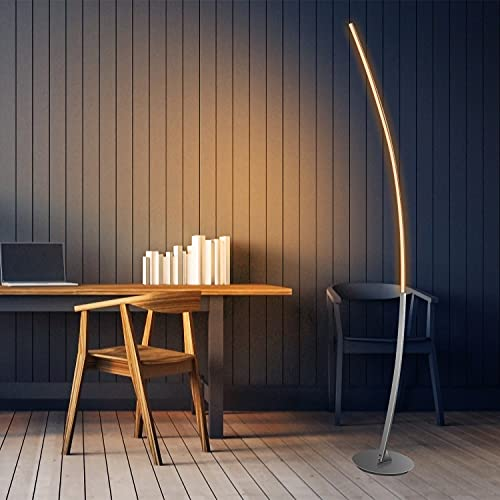 Eterbiz Lampadaire LED - Lampe sur pied - En métal - 20 W - Avec interrupteur à pied - Blanc chaud 3000 K - 1600 lm - Parfait pour chambre à coucher, salon, salle à manger