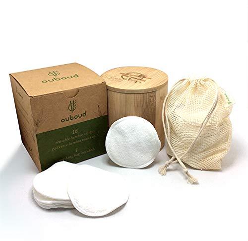 Ouboud - 16 cotons démaquillants en bambou pour une peau propre et saine. Boite en bambou et filet de lavage inclus