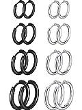 8 Pares de Pendientes de Aro de Cartílago Pendientes de Aro Pequeños de Acero Inoxidable Anillos de Labio Nariz para Mujeres Hombres, 8 mm 10 mm 12 mm 14 mm (Color Acero, Negro)