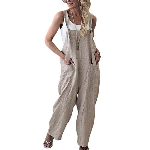 Damen Frauen Retro Latzhose Lässig Insgesamt Baggy Jumpsuits, Morbuy Leinen Taschen Playsuit Hose Lange Harem Casual Overalls Täglichen Trousers Pants (M,Aprikose)