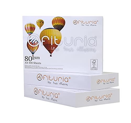 OFITURIA Papel Multiusos para Impresora A4 80 gsm - ( 1500 Hojas – 3 paquetes)