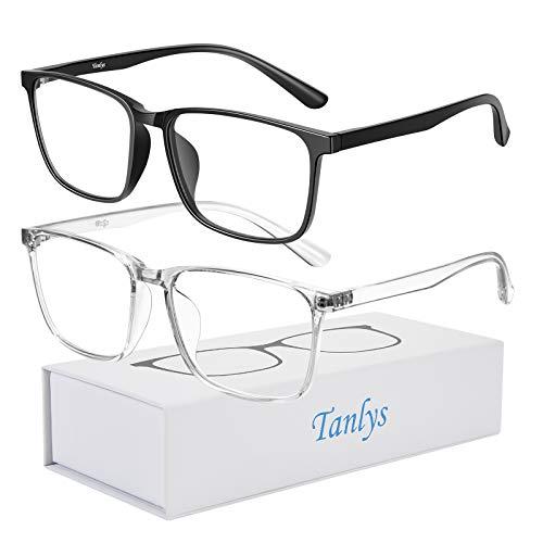 Gafas de Bloqueo de luz Azul Tanlys para Ordenador, antidolor de Cabeza, Lentes Transparentes TR90, bloqueadores de luz Azul, para Mujeres y Hombres