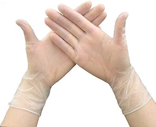 Guantes de vinilo desechables médicos transparentes, sin látex, sin polvo, no estériles, 100 unidades, L, transparente, 100