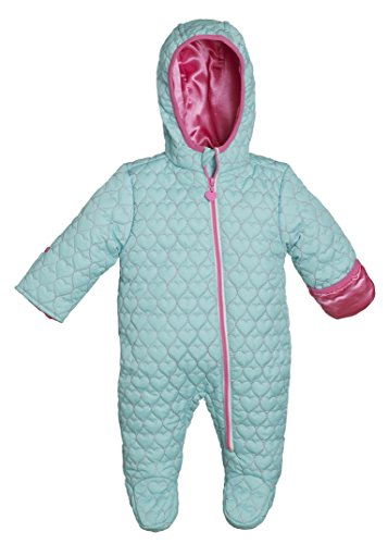 Wippette Infant Baby Girls Quilted Down Alternative Hooded Snowsuit Pram Bunting - Seafoam (Size 6/9 Months)