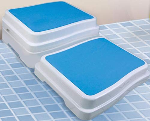 REHAFORUM MEDICAL Badewannen-Stufe, weiß/blau, Stufe für erleichterten Zutritt zur Badewanne, Badewannenlift, Seniorenhilfe, Badewanneneinstiegshilfe