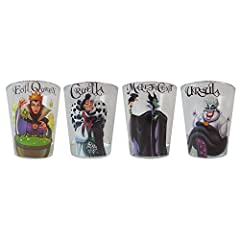 Set of 4 mini glasses featuring your favorite Disney Villians Ursula, Cruella, Maleficent and the Evil Queen Each glass holds up to 1. 5-ounces of liquid Perfect size for tastes, shots and sips Top rack dishwasher safe; not suitable for microwave or ...
