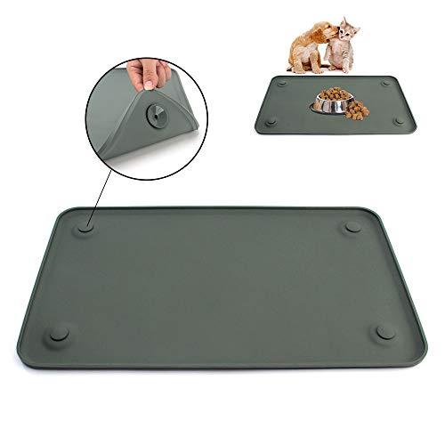 SENDR.KR Premium Napfunterlage aus Silikon für Katze oder Hund (rutschfest & wasserdicht), Futtermatte mit hoher Kante, FDA Hundenapfmatte (19 * 12in)&(24 * 16in) (XL G)