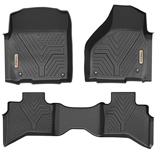 YITAMOTOR Floor Mats Compatible with Ram 1500, Custom Fit Floor Liners for 2019 Ram 1500 Classic Quad Cab, 2012-2018 Dodge Ram 1500 Quad Cab Only, 1st & 2nd Row All Weather Protection