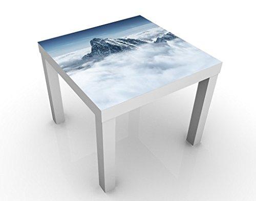 Apalis Table Basse Design The Alps Above The Clouds 55x55x45cm, Tischfarbe:Weiss;Größe:55 x 55 x 45cm