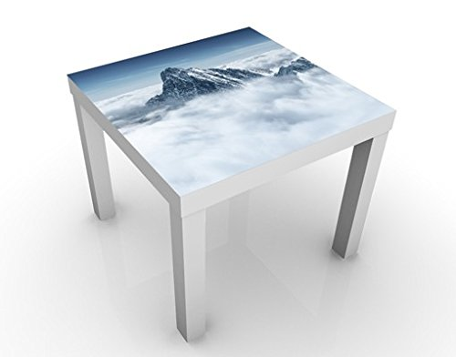 Apalis Table Basse Design The Alps Above The Clouds 55x55x45cm, Tischfarbe:Weiss;Größe:55 x 55 x 45cm
