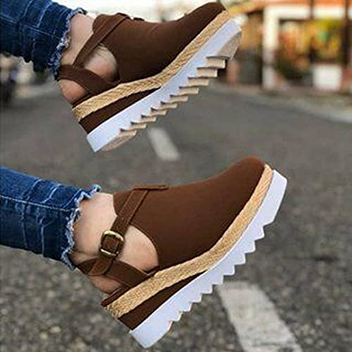 NC Retro Women s Sandals Ladies Wedges Buckle Thick Thick Flat Sandals Women s Shoes Summer 2021