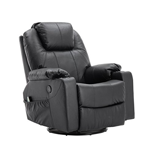 MCombo Rindleder Fernsehsessel Relaxsessel Massage Heizung USB (manuell verstellbar) (Schwarz)