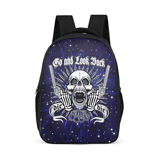 Xuanwuyi Skull Double Gun Mochila casual para niña, diseño de calavera de miedo con estampado de impresión de mochila para niñas Daypack Campus