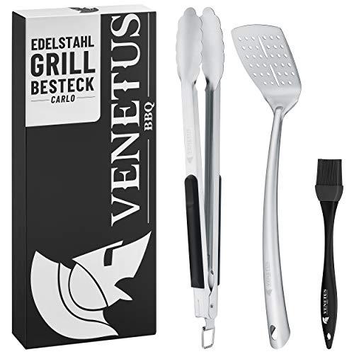 VENETUS-BBQ Grillbesteck extra lang aus Edelstahl | Premium Grillzubehör 3 teilig: Grillzange, Grillwender und Grillpinsel | Ideales Grill-Geschenk für Männer