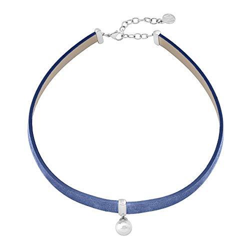 Collar Majorica Moonlight 15517.01.0.000.010.1 - Collar combinado de cuero color azul y perla