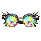 SLTY Kaleidoscope Rave Goggles Steampunk Glasses with Rainbow Crystal Glass Lens