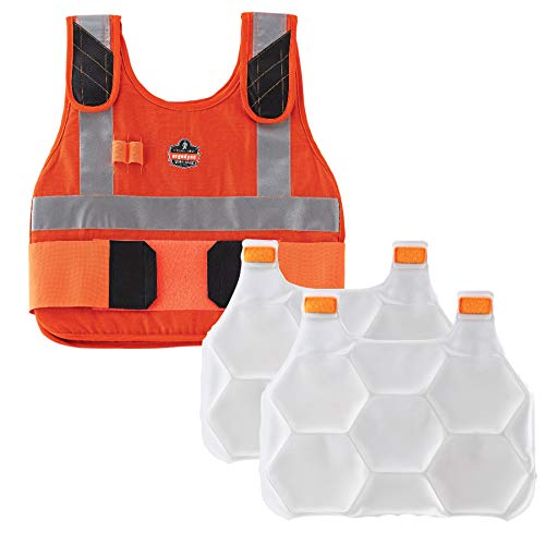 Cooling Vest with 2 Ice Packs, Flame Resistant, Flexible Design, Ergodyne Chill Its 6215, Orange, L/XL
