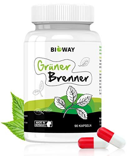 BIOWAY Grüner Brenner - hochdosierte Kapseln mit Grünen-Kaffeebohnen-Extrakt und Guarana - Hergestellt in Deutschland - 90 Kapseln (59g)