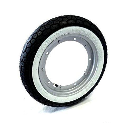 Kit de rueda completa con neumático con banda blanca y cámara de aire, tamaño 3,50 x 10 pulgadas, Vespa PX 125/150/200, Vespa Sprint Vespa GL, Vespa GT/GTR, Vespa TS Vespa Rally