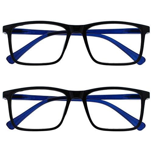 Opulize Ink Pack 2 Gafas De Lectura Grande Negro Azul Hombres Mujeres Bisagras Resorte RR4-1 +1,50