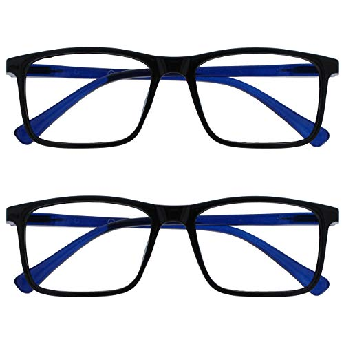 Opulize Ink Pack 2 Gafas De Lectura Grande Negro Azul Hombres Mujeres Bisagras Resorte RR4-1 +3,50