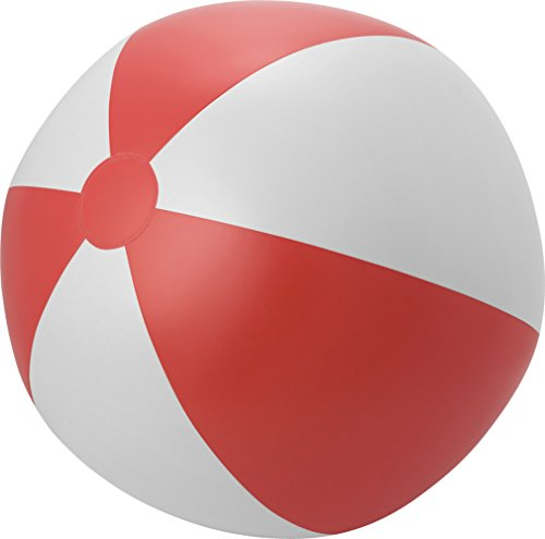 Giving Aufblasbarer Wasserball Groß XXL Spielball 49 cm Wasserball Aufblasbar Farbwahl PHTHALATFREI (Rot-Weiss)