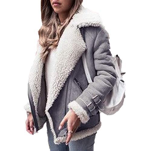 x8jdieu3 Top Coat Zipper Fleece GüRtellose Jacke Damen Collage Stitching Revers...