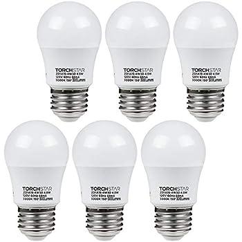 TORCHSTAR 4.5W A15 LED Light Bulb 40W Equivalent Light Bulb UL-Listed E26/E27 Medium Base 3000K Warm White for Ceiling Fan Desk Lamp Floor Lamp Pack of 6