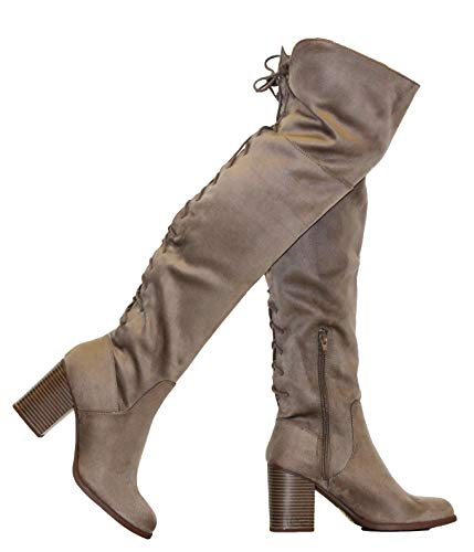 MVE Shoes Women's High Knee Back Lice up Side Zipper, Taupe Size 11