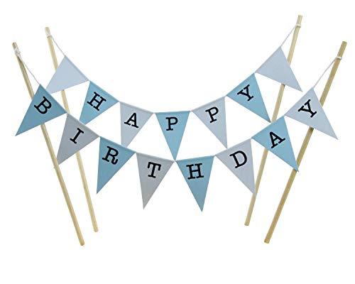 amazing buntings Kuchen Deckel Set, Blau Pastell Große Fahnen mit 4 Bambus Sticks