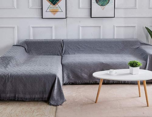 Rose Home Fashion Sectional Couch Covers Sectional Sofa Cover 2 Pieces L Shaped Couch Covers Sectional Couch Cover Couch Covers for Sectional Sofa (Chaise with 2 Seater,Dark Gray)
