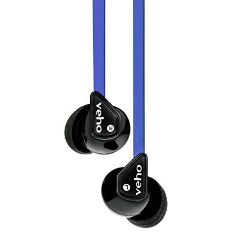 Veho Z-1 - Auriculares in-ear, cableado, aislamiento de ruido, cable flexible anti-enredos, sonido estéreo, color azul