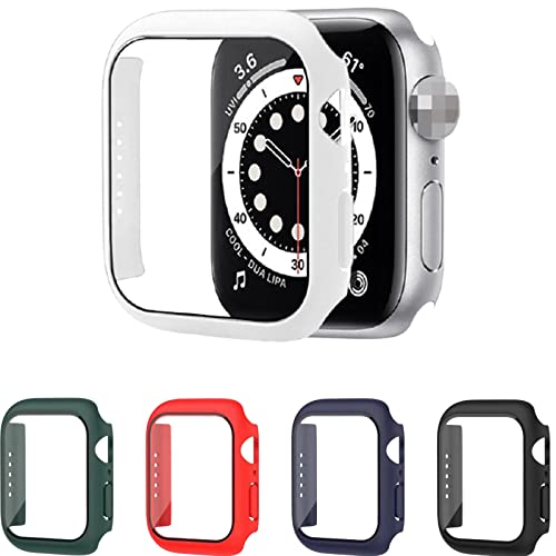 2 Pack Tempered Glass Case for Apple Watch Series 7 45mm 41mm Screen Protector Hard PC Protective Case for iWatch 7 Applewatch 45mm 41mm (41mm,White)