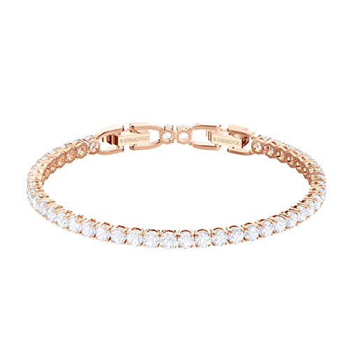Swarovski Women's Tennis Deluxe Bracelet, Brilliant White Stones and Rose-Gold Tone Plated Metal, From the Swarovski Tennis Deluxe Collection