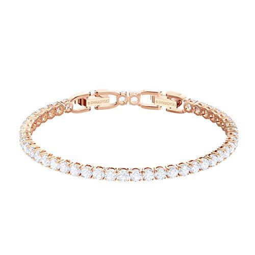 Swarovski Braccialetto Tennis, bianco, Placcato oro rosa