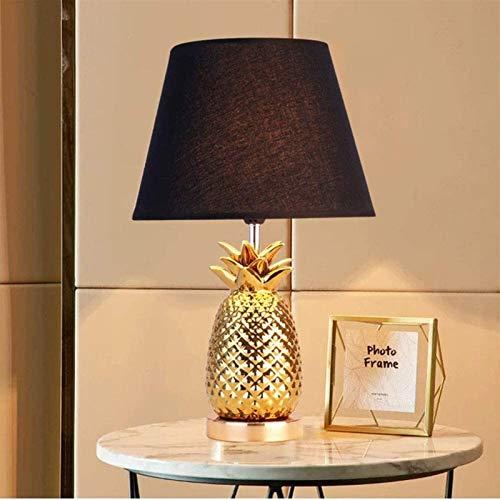 Lámpara de escritorio Lámpara de mesita de noche de piña de oro con tela Blanco/Negro Sombra Classic Diseño clásico para dormitorio Sala de estar Decoración de...