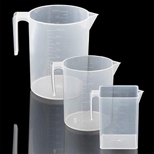 UniquQ Juego de jarra medidora de plástico 3 piezas,grande 3 tazas(1 litro), 2 tazas (500 ml) y pequeña 1 taza (250 ml) - Tazas medidoras aptas para microondas - Mediciones claras y fáciles de leer