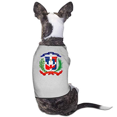 Florasun Camiseta de la bandera de la Repblica Dominicana para mascotas, trajes para cachorros, ropa para perros, chaleco gris-S